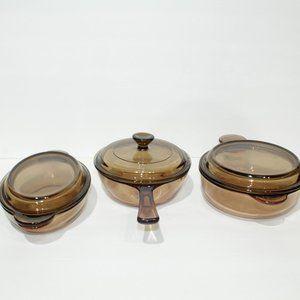 3x Visionware glass pots